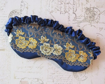 Provence Floral Lace Sleep Mask //  Lace & Satin Eye Mask in Gold and Blue