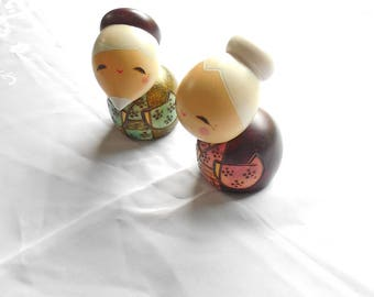 Kyoohoo Japanese Kokeshi Doll Gochoujyu (k12-4322) Set of 2