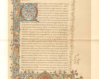 1897 Facsimile of the Front Page of Theophrastus Corvin Codex from Bibliotheca Corviniana Antique Chromolithograph