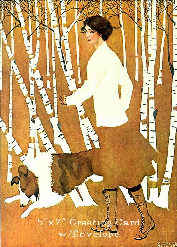 "Woman With Collie, 5""x7"" Greeting Card, + Envelope, Coles Phillips, Fadeaway Girls, Birch Trees, Forgotten Art Card, Pretty Girl Postcards"