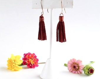 Boho Leather Fringe Earrings - Burgundy - Genuine Leather - Recycled - Sterling Earwires - Dangle