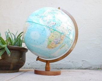 Vintage Globemaster 12inch Diameter World Globe Blue Vintage Globe Globemaster Legend Classroom Globe Map Maps Desktop Teacher Home Decor
