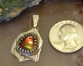 Ammolite Pendant Sterling Silver Large Natural Utah Gem and Fossil Statement Pendant Statement Jewelry Red Green Yellow Fire 709