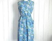 60s Retro Floral Dress Vintage Shift Dress Blue Daisy Print Sleeveless Southern Belle Large L