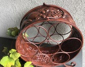 Tabletop Metal Wine Rack Copper - Fruit Design on Sides / Vintage Table Top Bottle Holder / Counter Display ~ #A2310