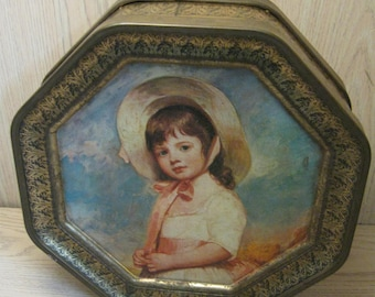Octagon Tin Metal Box Little Boy With Dog Little Girl Wearing Bonnet 2 Sided Tin Sunshine Biscuit Inc 1970