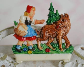Vintage Little Red Riding Hood Celluloid Brooch with Big Bad Wolf and Scroll