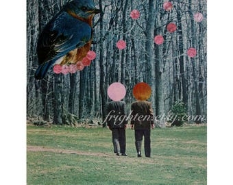 One of a Kind Paper Collage, Surreal Art, Blue and Green, OOaK Wall Decor, Collage Art