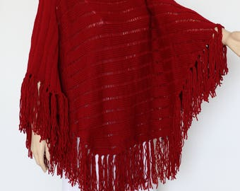 Red poncho Red cape Winter Poncho Womens Poncho  Warm Poncho Knitted Poncho Womens Shawl Sweaters Knit Poncho