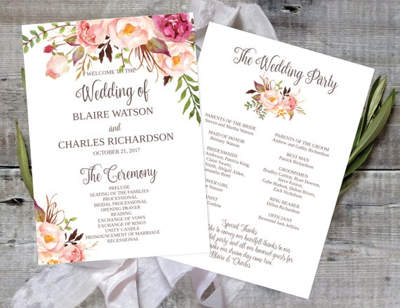 Printable Wedding Program X Wedding Program Template Wedding - 5x7 wedding program template