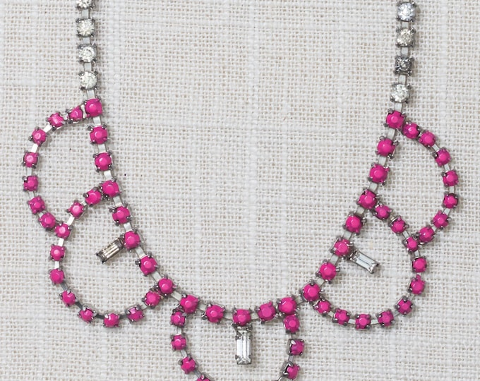 Hot Pink Handcrafted Necklace Rhinestone Hand Painted Bib Chandelier Choker 7HH