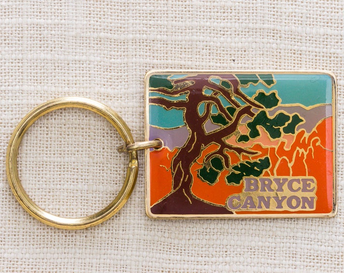 Bryce Canyon Utah Vintage Keychain National Park Hoodoos US Landmark Key FOB Brass Key Chain 7KC