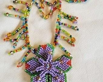 Cuttest Purple Flower fringe Necklace