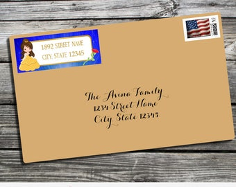 Address Labels, Beauty and The Beast Address Label, Princess Address Labels, Printed Return Address Label, Envelope Mailing Labels, Belle