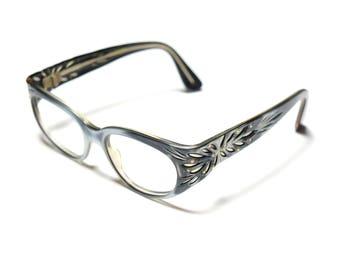 vintage 60s eyeglasses cutout plastic frames 1960 eyewear rhinestone flower floral 1960s glasses plastic frames France metallic marble