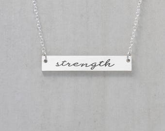 Strength Necklace, Inspirational Jewelry, Strength Jewelry, Motivational Bar Necklace, Mantra Pendant, Strength And Dignity