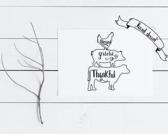 Chicken Pig Cow SVG Thankful Grateful Blessed SVG File Hand Drawn Digital Download Thanksgiving SVG