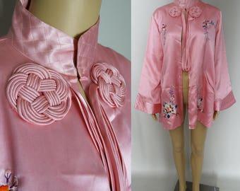 Vintage 1950s Robe | Orential Robe | 50s Robe | Dusty Rose Robe | Embroidered Robe | Silk Satin Robe |