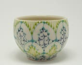 Ceramic Demitasse - Tea Cup, Saki Cup - Handmade with Turquoise, Kiwi and Navy Pattern