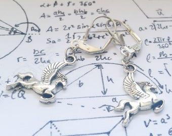 Silver Pegasus Flying Horse dangle earrings