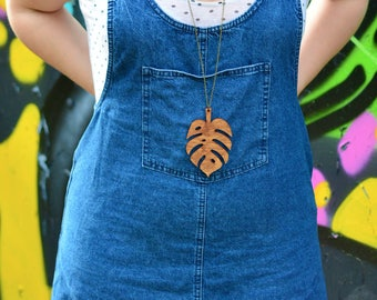 Cheese Plant Statement Necklace | Monstera Leaf Necklace | Extra Long Necklace | Wooden Jewellery | Nickel Free