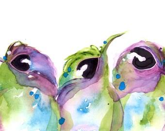 Large Hummingbird Art Print,  Three hummingbirds  Art Print, 12 x 16 Colorful Hummingbird Art