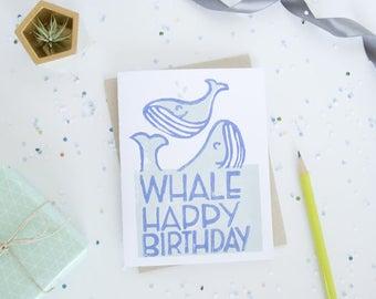 Block Print Birthday Whales Card