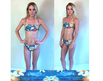 sexy vtg 90s GUESS Hawaii Print BIKINI xs/s tropical flowers collage two piece bathing suit swimsuit
