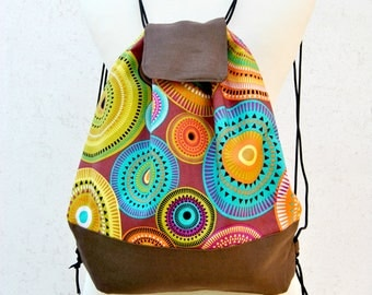 Drawstring Backpack Canvas. Ethnic Mandala Fabric purse, Zipper Pocket, Snap button, adjoustable strings. Unique  fall gift  accessories
