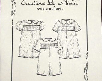 Easy Vintage Creations By Michie Sewing Pattern 114 Classic Smocked Romper Suit Baby Babies Toddler Tot Boy Girl Size 2 3 4 5 Uncut FF
