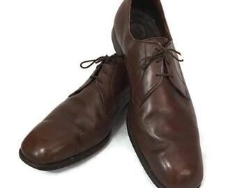 60s Dress Shoe 12D,  Brown Shoes, Plain Toe Derby, McHale Shoes, 1960s Leather Shoes, Brown Plain Toe, Brown Bulchers, Brown Leather Shoes,