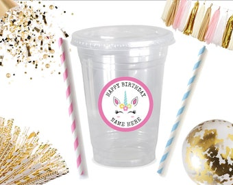 Unicorn • Plastic Disposable Party Favor Cups w/ Lids, Straws & Tags • Set of 12