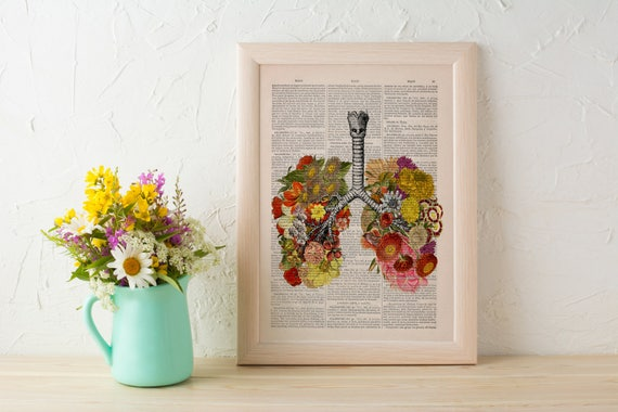 Flowery Lungs human Anatomy Print on dictionary page Anatomy love wall art, art, science and anatomy art SKA062b