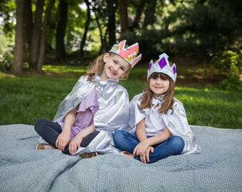 Silver Crown & Cape Set // Jeweled Princess Crown // 2 and up