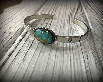 Royston Turquoise Sterling Silver Stamped Cuff
