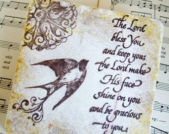 The Lord Bless You and Keep You Coasters, Antiqued Stone Set of 4, Numbers 6:24-25, Inspiration, Encouragement, Blessing Scripture