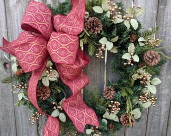 Christmas / Holiday Wreath / Gold Berry Wreath with Muted Gold and Burgundy Ribbon / Elegant Christmas Wreath / Horn's Handmade