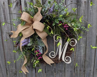 Door Wreath, Monogram Wreath, Burlap Wreath, Wreath for All Year Round,Spring Wreath, Berry Wreath, Natural Wild Front Door, Purple Pink