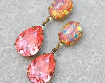 Watermelon Pink Bridesmaid Earrings Opal Vintage Dangle Swarovski Crystal Padpadataschia  Sapphire Pink German Glass Opal Stud Post Clip On