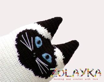Personalized cat pillow by your own design, stuffed pet portrait, picture portrait crochet pillow, custom cat portrait, stuffy cat pillow