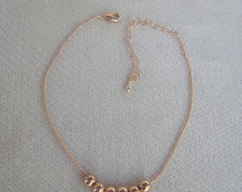 Petite Rose Gold Chain Bracelet with Six Moveable 4mm Round Beads