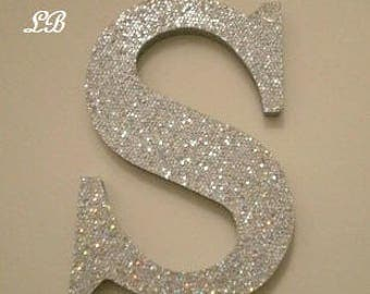 "SILVER GLITTER LETTERS-Super Sparkling Octagon/Prisma Glitter Wall Letters- 5"" or 8"" Initials,Names,or Words in A-Z"
