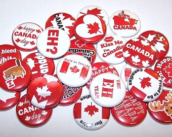 "Canada Day Canadian Love Set of 10 Buttons 1"" or 1.5"" Pin Back Buttons or 1"" Magnets Red White Canada Day Buttons"
