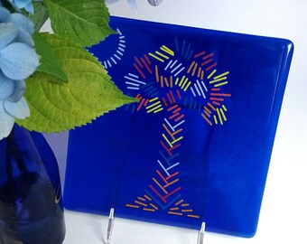 Palmetto State Cobalt Blue Glass Tile, Dish, or Serving Tray - South Carolina Flag