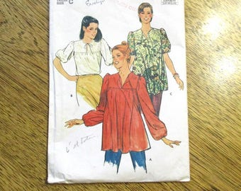 BOHO 1980s Easy Fitting Smock Top / Comfortable Border Print Peasant Top - Plus Size (16 - 18 - 20) - VINTAGE Sewing Pattern Butterick 3797
