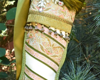 Vintage Christmas Stocking with Snowflake