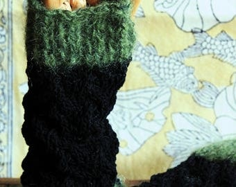 Handknit green and black mohair, silk, cotton mitts