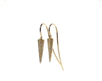 SALE 14k Micro Pave Diamond Spike Hook Through Earrings