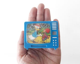 Vintage Plastiskop Miniature TV Donald Walt Disney with 10 Views Made in Germany