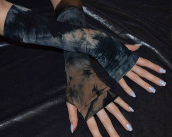 Bleached Tie dye Arm Warmers fingerless gloves sleeves sleeve armwarmers armwarmer arm warmer thumbhole thumb hole tie dyed glove emo bleach